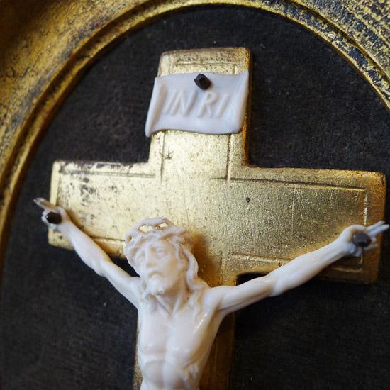 アンティーク 額入りクロス キリスト